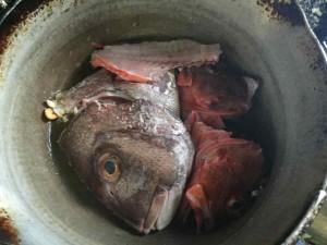 あたまとアラを投入。鯛は下塩がしてありましたが、カサゴはしていなかったので、熱湯をくぐらせて下塩をしてから投入します。