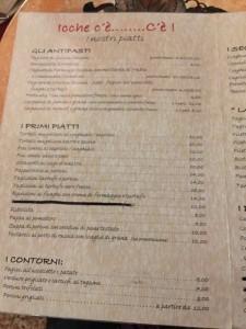 前菜とパスタのメニュー